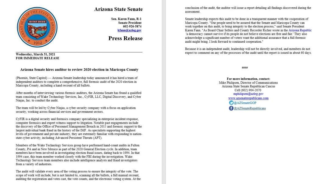 Arizona Taps Auditors, Sets Maricopa County Full Forensic Audit In Motion....Leftist News Loses It