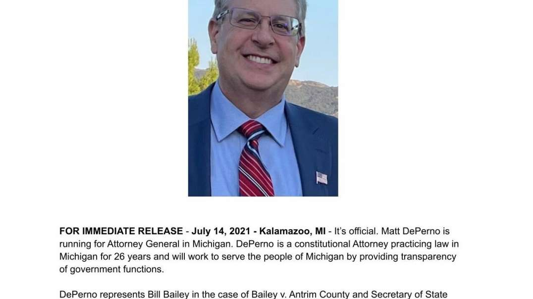 Attorney Mathew DePerno Announces Run For Michigan Attorney General