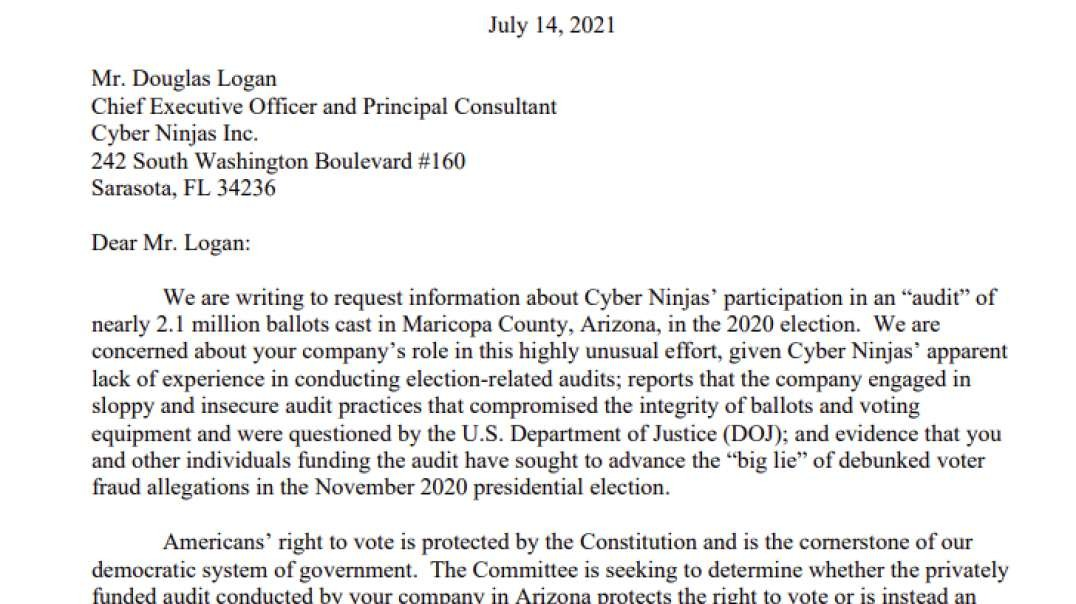 House Oversight Committee To Investigate Arizona Election Audit, Sends Nasty Letter To Cyber Ninjas