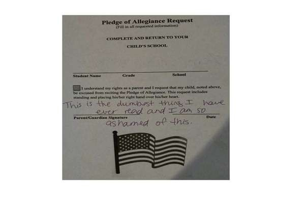 This waiver for the Pledge of Allegiance was posted by a parent on social media. It allows a child to be excused from reciting in the Pledge of Allegiance. Love the parent's written res..