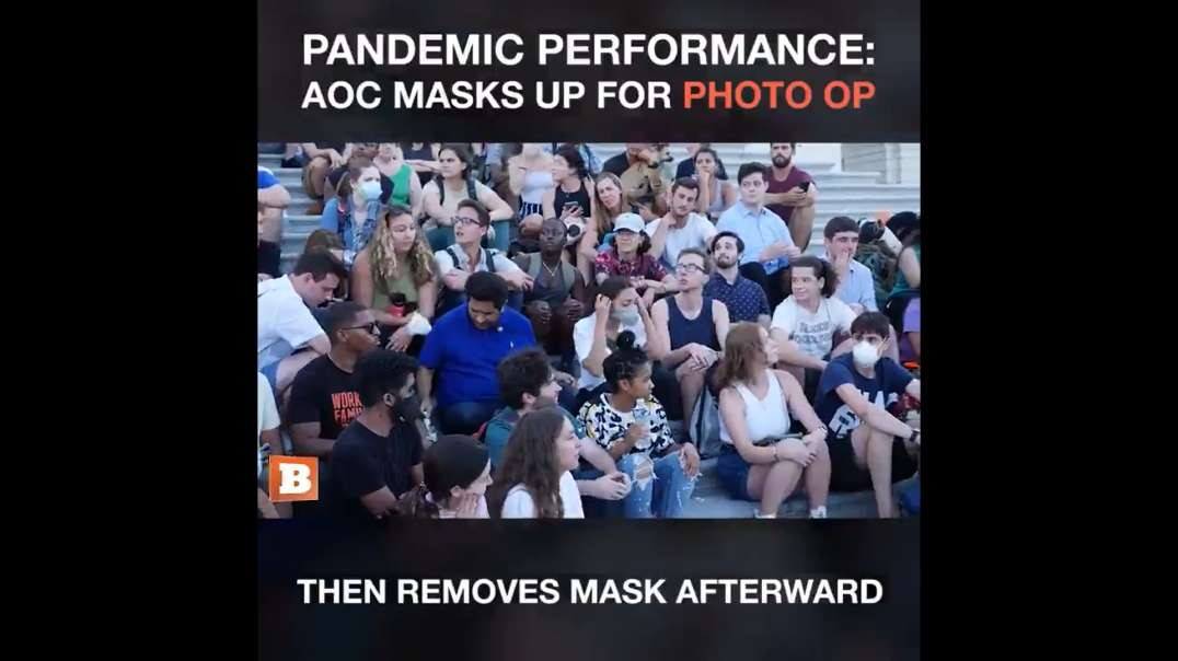AOC Caught Maskless Surrounded By Crowd Only To Put A Mask On For Photos