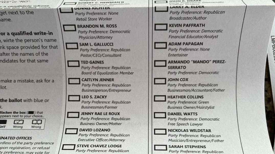 California Recall Ballot Prefold Over Candidate Elder Likely To Not Scan Or Cause Adjudication
