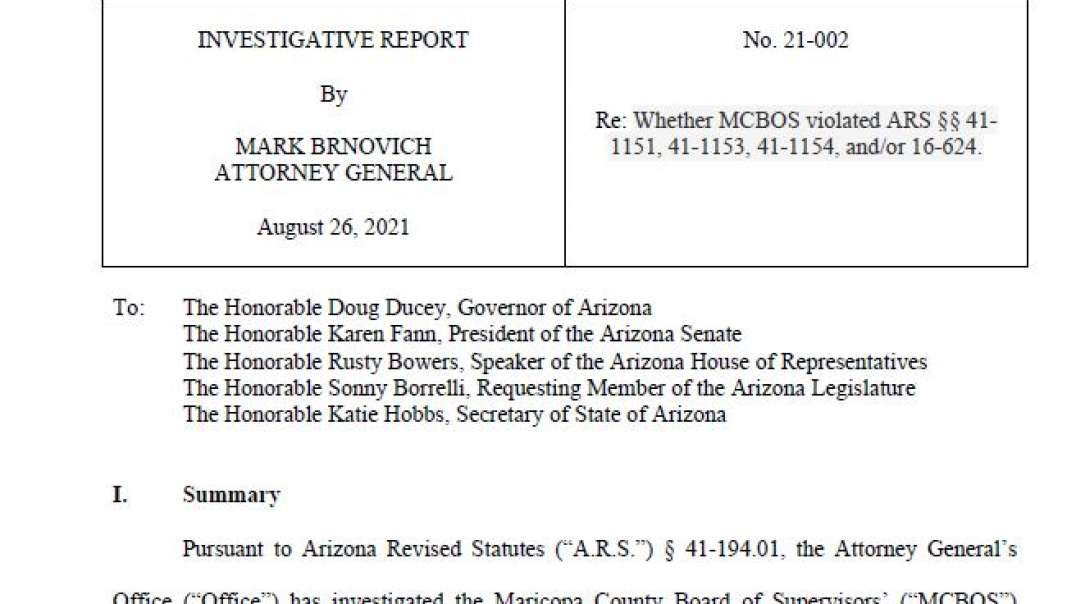 Arizona Attorney General Concludes SB1487 Investigation, Says Maricopa County BOS Violated State Law