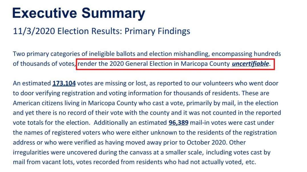 Maricopa County Canvass Report Deems 2020 General Election Uncertifiable